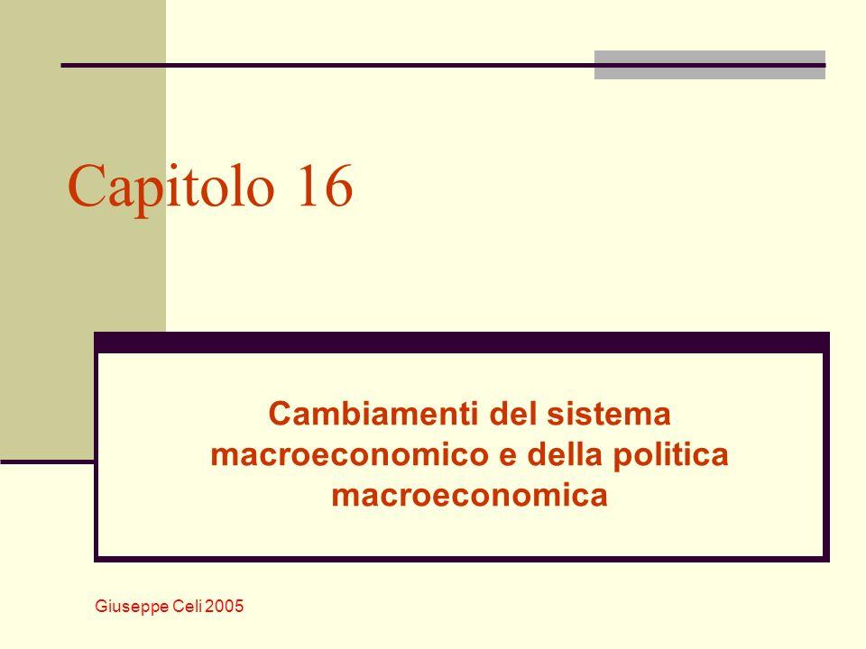 Giuseppe Celi 2005 Cambiamenti del sistema macroeconomico Nel corso del tempo, il sistema macroeconomico cambia e così pure gli schemi analitici con cui viene studiato La figura che segue mostra levoluzione della struttura produttiva delle economie avanzate.
