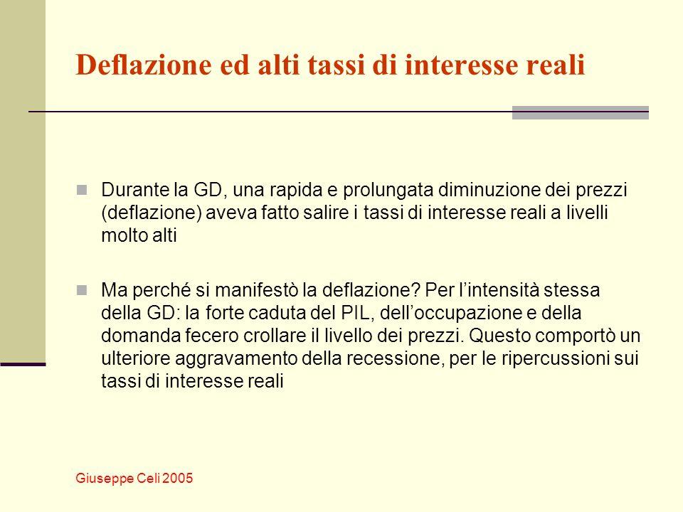 Giuseppe Celi 2005 Deflazione ed alti tassi di interesse reali Durante la GD, una rapida e prolungata diminuzione dei prezzi (deflazione) aveva fatto salire i tassi di interesse reali a livelli molto alti Ma perché si manifestò la deflazione.