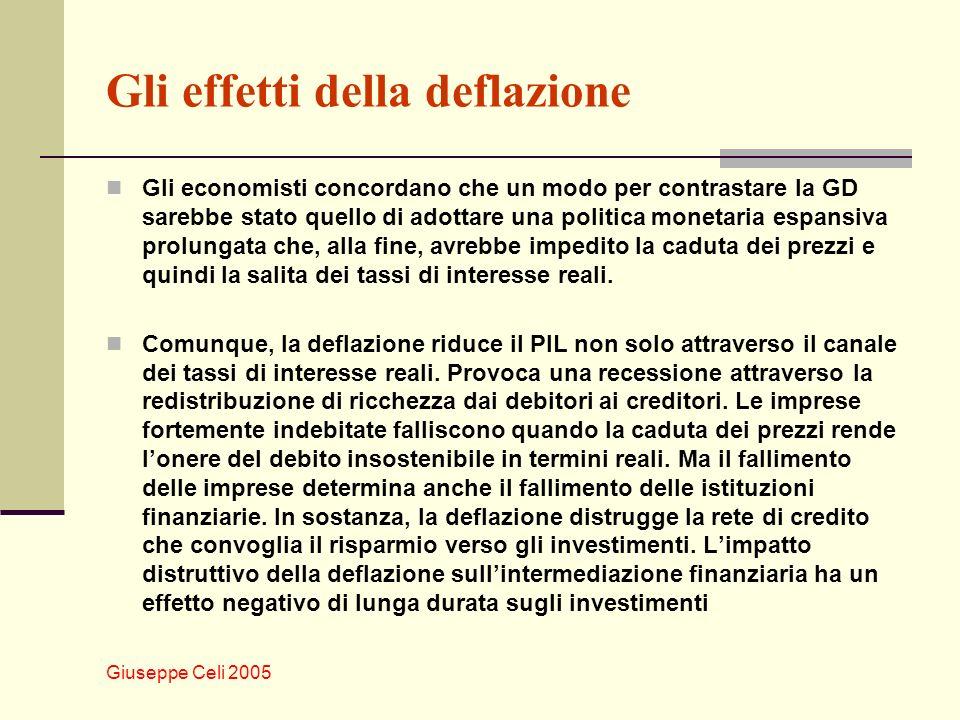 Giuseppe Celi 2005 Gli effetti della deflazione Gli economisti concordano che un modo per contrastare la GD sarebbe stato quello di adottare una politica monetaria espansiva prolungata che, alla fine, avrebbe impedito la caduta dei prezzi e quindi la salita dei tassi di interesse reali.