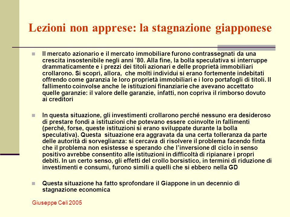 Giuseppe Celi 2005 Lezioni non apprese: la stagnazione giapponese Il mercato azionario e il mercato immobiliare furono contrassegnati da una crescita insostenibile negli anni 80.
