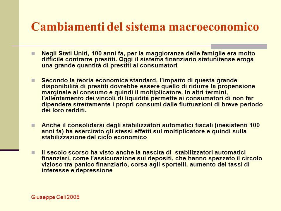 Giuseppe Celi 2005 Cambiamenti del sistema macroeconomico Negli Stati Uniti, 100 anni fa, per la maggioranza delle famiglie era molto difficile contrarre prestiti.