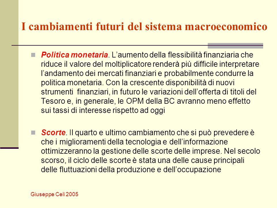 Giuseppe Celi 2005 I cambiamenti futuri del sistema macroeconomico Politica monetaria.