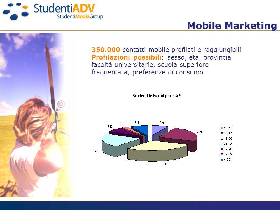 Mobile Marketing Mobile Marketing 350.000 contatti mobile profilati e raggiungibili Profilazioni possibili: sesso, età, provincia facoltà universitarie, scuola superiore frequentata, preferenze di consumo