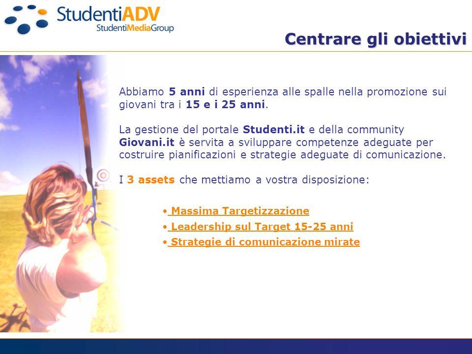 Abbiamo 5 anni di esperienza alle spalle nella promozione sui giovani tra i 15 e i 25 anni. La gestione del portale Studenti.it e della community Giov