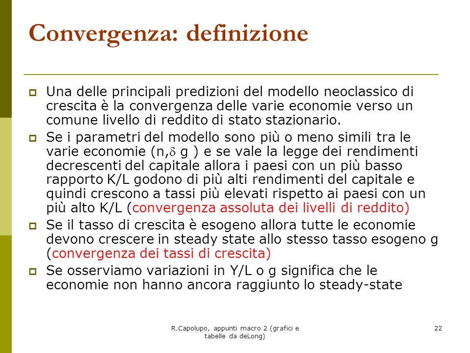 R.Capolupo, appunti macro 2 (grafici e tabelle da deLong) 23 Convergenza tra le economie dei Paesi del G-7 Misurata dal livello di produzione pro capite come quota del livello statunitense.