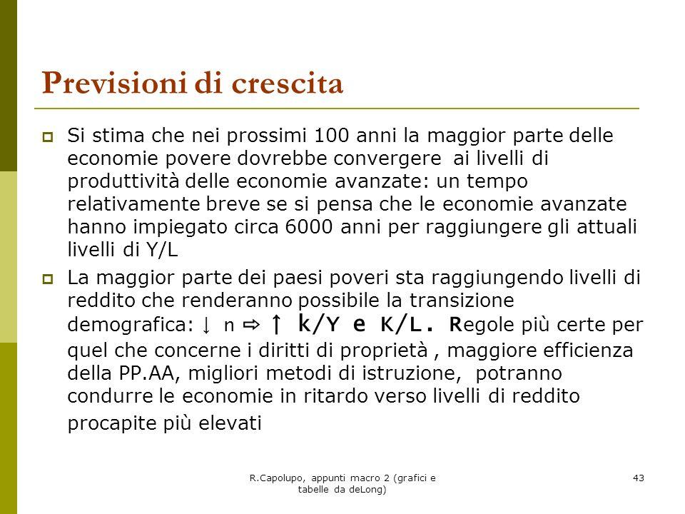 R.Capolupo, appunti macro 2 (grafici e tabelle da deLong) 44 Cosa fare per accelerare il processo di convergenza.