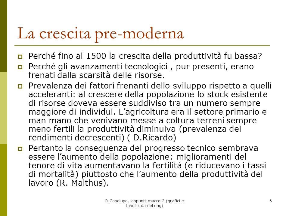 R.Capolupo, appunti macro 2 (grafici e tabelle da deLong) 7 fine dellera malthusiana: può ritornare.