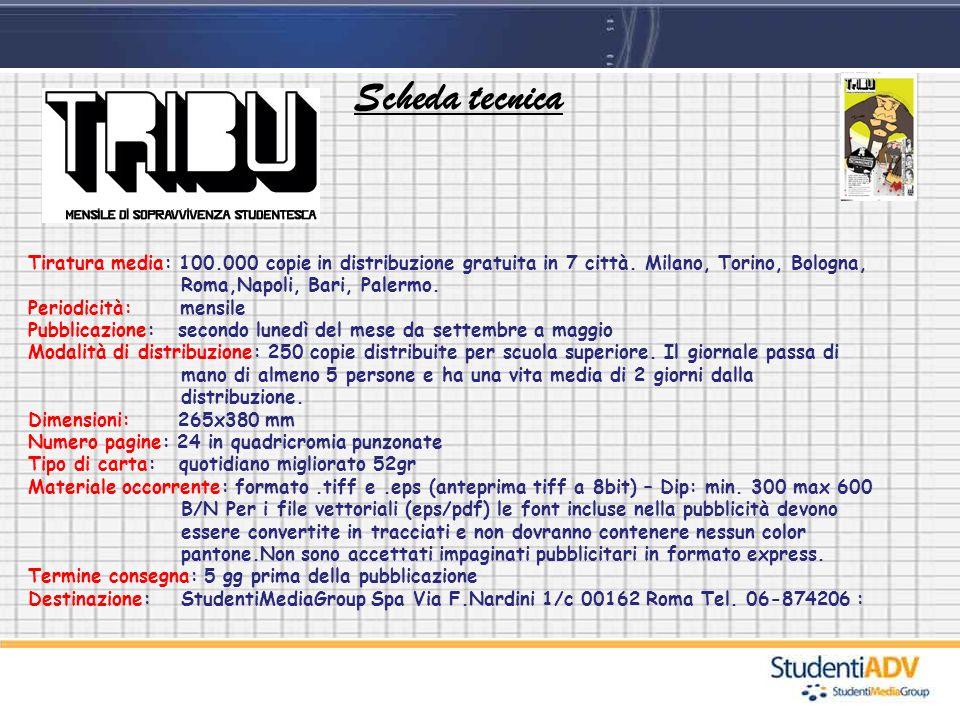 Scheda tecnica Tiratura media: 100.000 copie in distribuzione gratuita in 7 città. Milano, Torino, Bologna, Roma,Napoli, Bari, Palermo. Periodicità: m