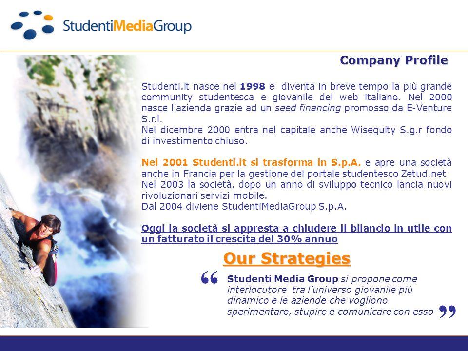 Company Profile Studenti Media Group si propone come interlocutore tra luniverso giovanile più dinamico e le aziende che vogliono sperimentare, stupire e comunicare con esso Our Strategies Studenti.it nasce nel 1998 e diventa in breve tempo la più grande community studentesca e giovanile del web italiano.