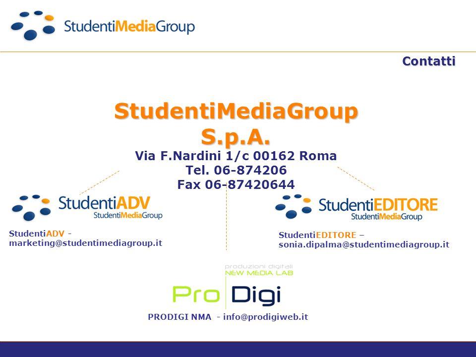 Contatti StudentiMediaGroup S.p.A. Via F.Nardini 1/c 00162 Roma Tel.