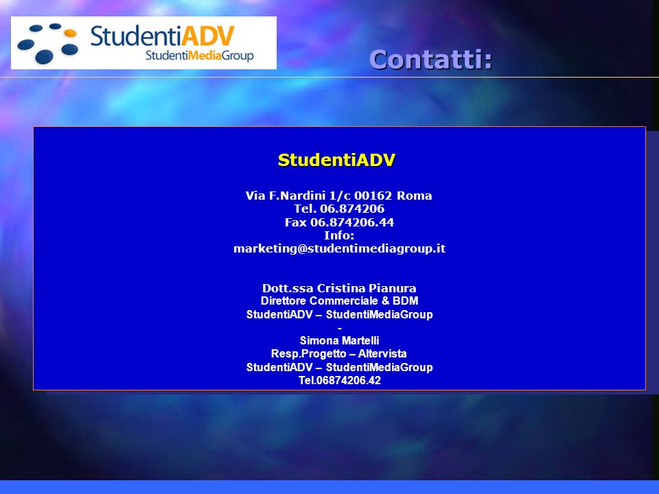 StudentiADV Via F.Nardini 1/c 00162 Roma Tel.