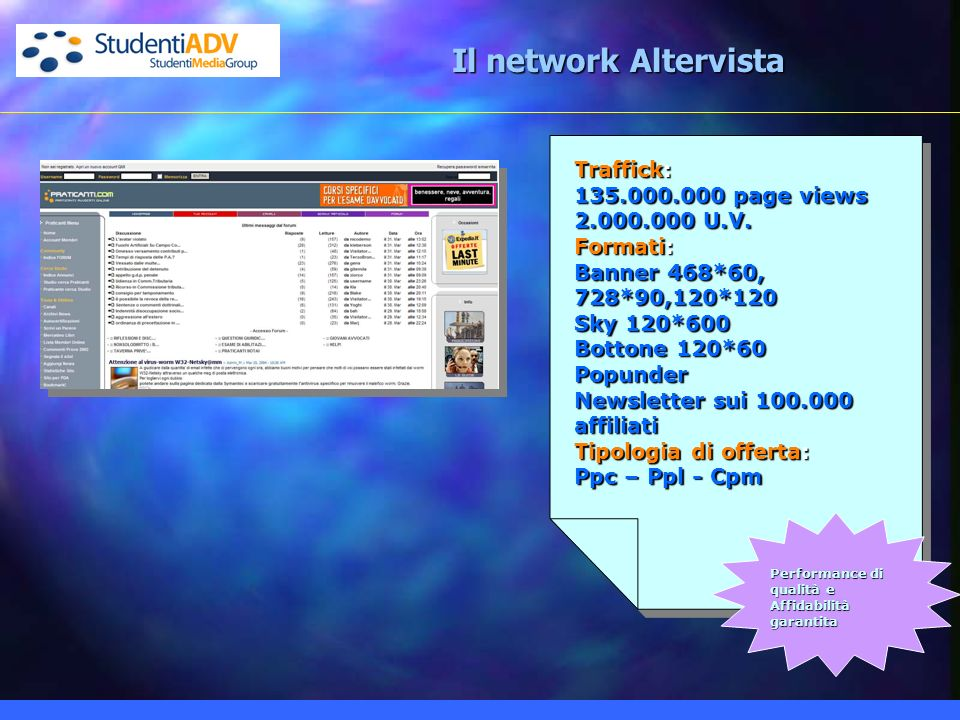 Il network Altervista Traffick: 135.000.000 page views 2.000.000 U.V.