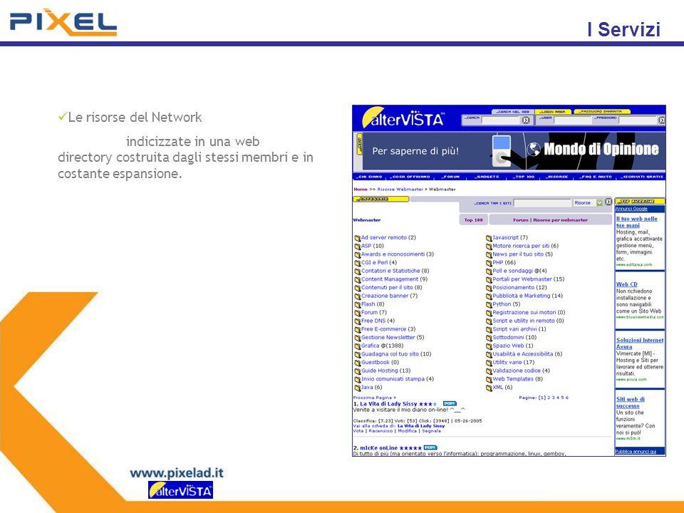 Le risorse del Network indicizzate in una web directory costruita dagli stessi membri e in costante espansione.