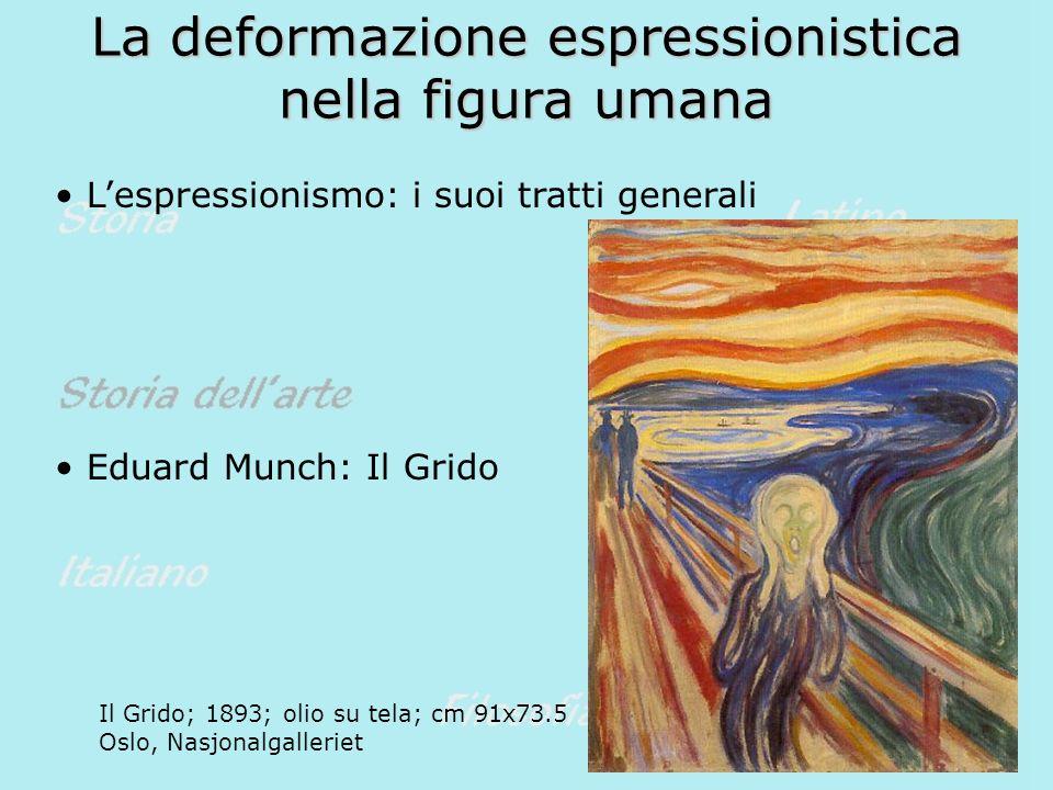 La deformazione espressionistica nella figura umana Lespressionismo: i suoi tratti generali Eduard Munch: Il Grido Il Grido; 1893; olio su tela; cm 91x73.5 Oslo, Nasjonalgalleriet