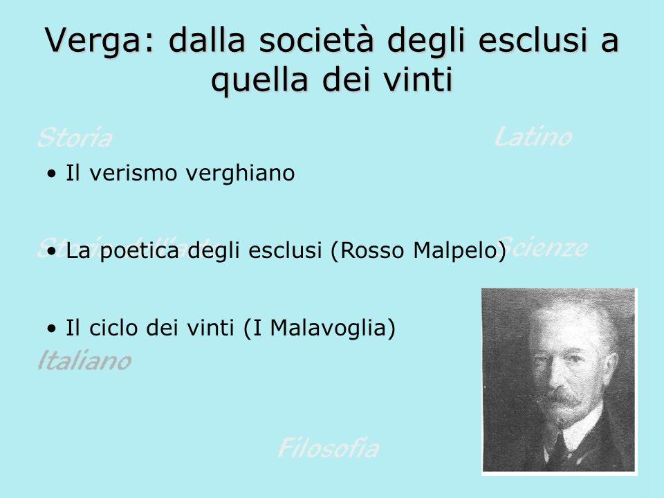 Verga: dalla società degli esclusi a quella dei vinti Il verismo verghiano La poetica degli esclusi (Rosso Malpelo) Il ciclo dei vinti (I Malavoglia)