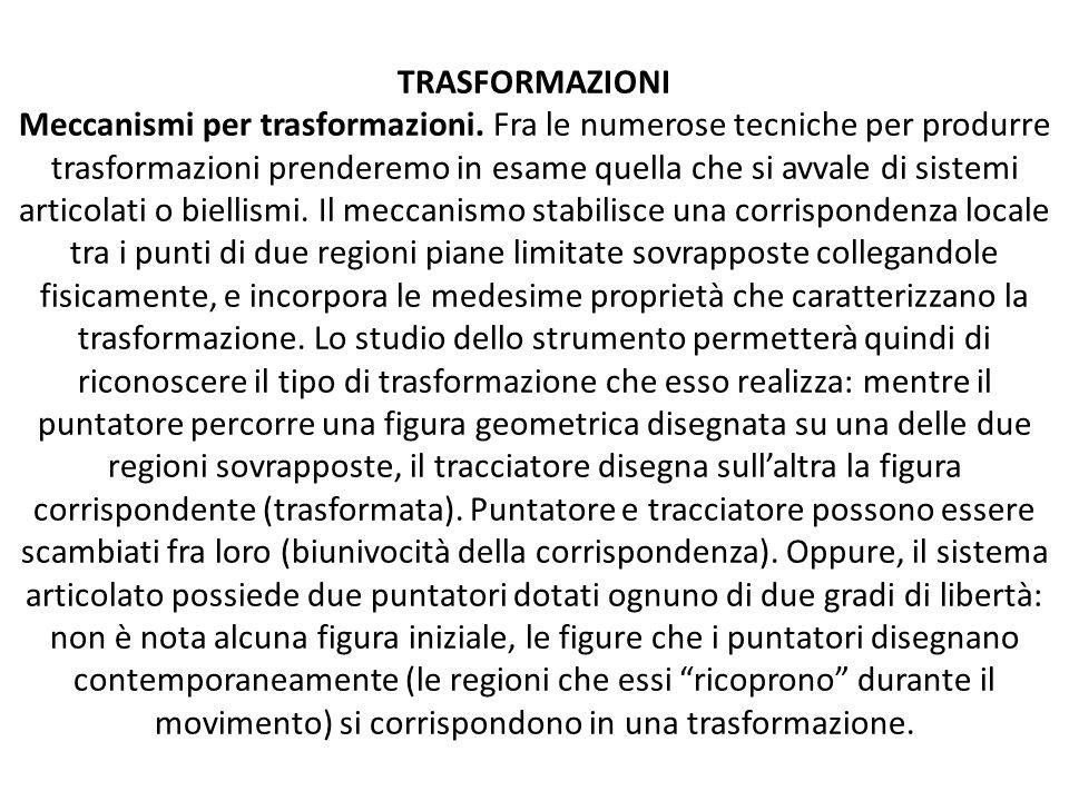 TRASFORMAZIONI Meccanismi per trasformazioni. Fra le numerose tecniche per produrre trasformazioni prenderemo in esame quella che si avvale di sistemi