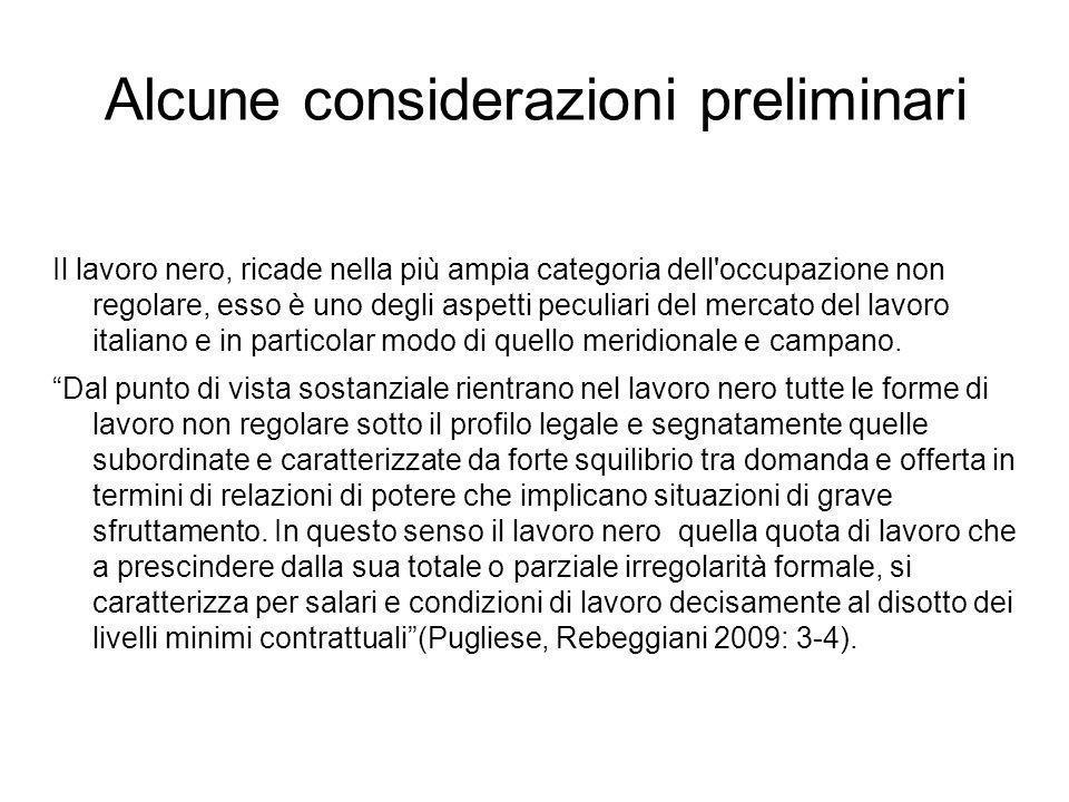 Il lavoro nero, ricade nella più ampia categoria dell occupazione non regolare, esso è uno degli aspetti peculiari del mercato del lavoro italiano e in particolar modo di quello meridionale e campano.