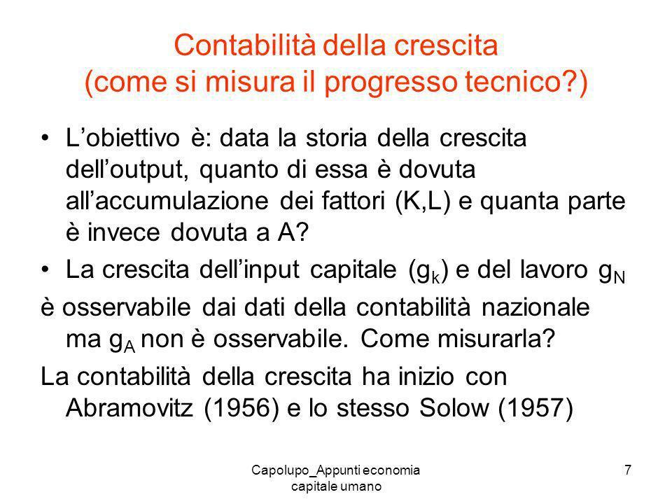 Capolupo_Appunti economia capitale umano 7 Contabilità della crescita (come si misura il progresso tecnico?) Lobiettivo è: data la storia della cresci