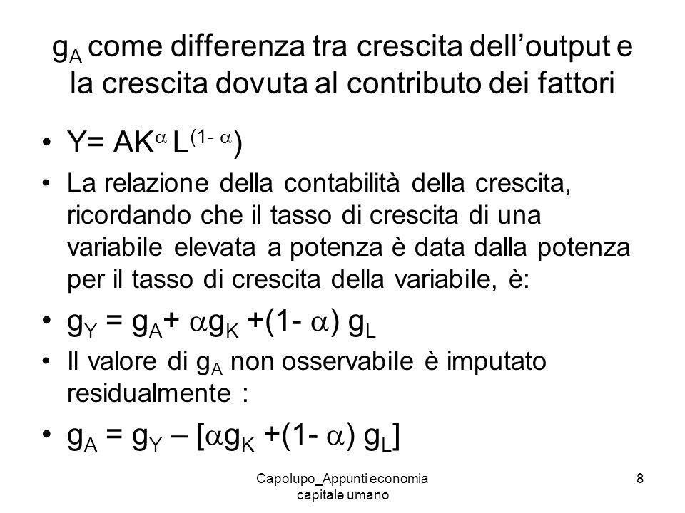 Capolupo_Appunti economia capitale umano 8 g A come differenza tra crescita delloutput e la crescita dovuta al contributo dei fattori Y= AK L (1- ) La