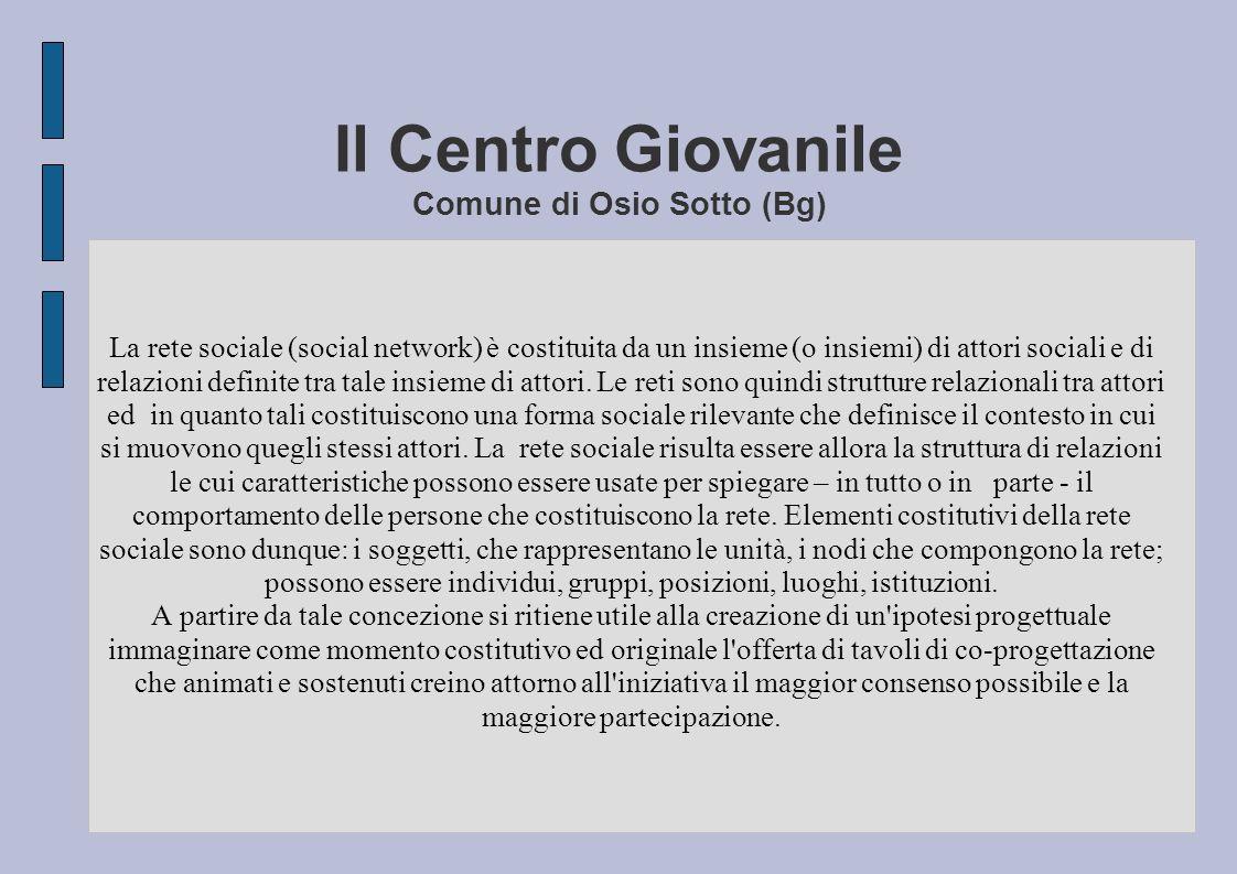 Il Centro Giovanile Comune di Osio Sotto (Bg) La rete sociale (social network) è costituita da un insieme (o insiemi) di attori sociali e di relazioni