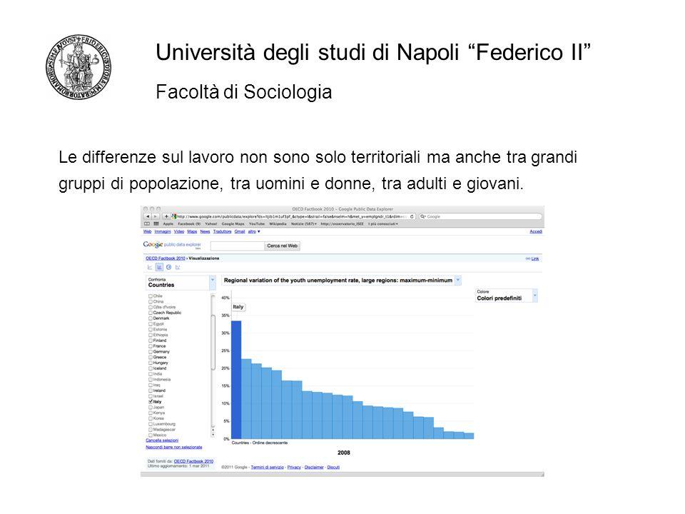 Facoltà di Sociologia Università degli studi di Napoli Federico II Le differenze sul lavoro non sono solo territoriali ma anche tra grandi gruppi di popolazione, tra uomini e donne, tra adulti e giovani.