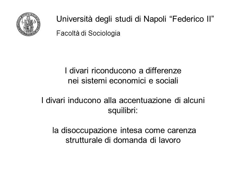Facoltà di Sociologia Università degli studi di Napoli Federico II I divari riconducono a differenze nei sistemi economici e sociali I divari inducono alla accentuazione di alcuni squilibri: la disoccupazione intesa come carenza strutturale di domanda di lavoro