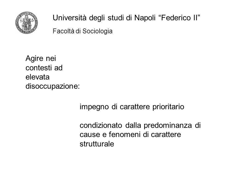 Facoltà di Sociologia Università degli studi di Napoli Federico II Agire nei contesti ad elevata disoccupazione: impegno di carattere prioritario condizionato dalla predominanza di cause e fenomeni di carattere strutturale