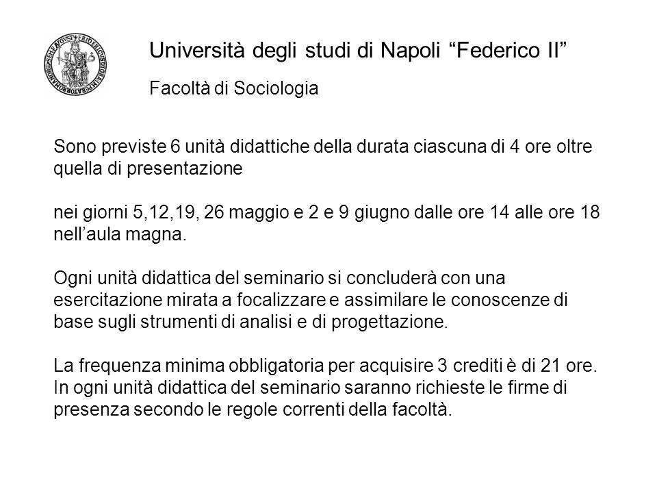 Facoltà di Sociologia Università degli studi di Napoli Federico II Sono previste 6 unità didattiche della durata ciascuna di 4 ore oltre quella di presentazione nei giorni 5,12,19, 26 maggio e 2 e 9 giugno dalle ore 14 alle ore 18 nellaula magna.