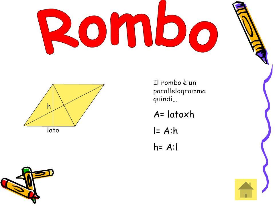 lato h h Il rombo è un parallelogramma quindi… A= latoxh l= A:h h= A:l