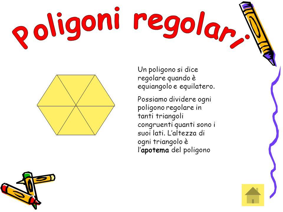 Un poligono si dice regolare quando è equiangolo e equilatero. Possiamo dividere ogni poligono regolare in tanti triangoli congruenti quanti sono i su