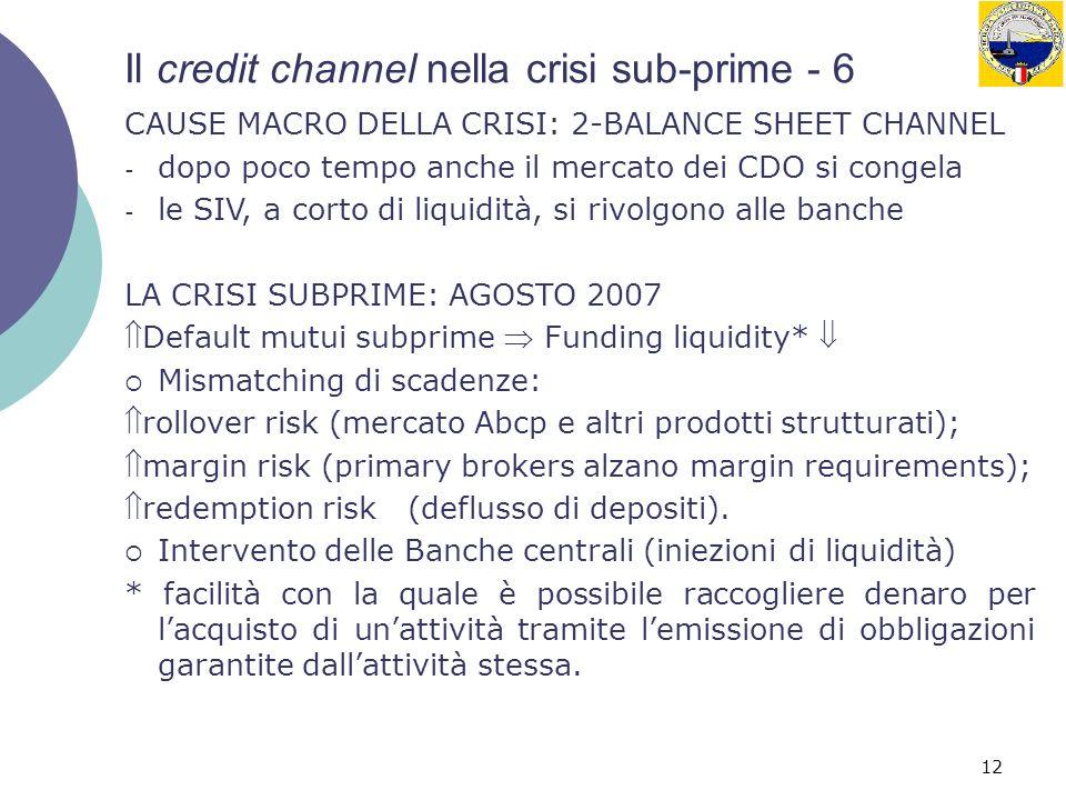 12 Il credit channel nella crisi sub-prime - 6 CAUSE MACRO DELLA CRISI: 2-BALANCE SHEET CHANNEL - dopo poco tempo anche il mercato dei CDO si congela - le SIV, a corto di liquidità, si rivolgono alle banche LA CRISI SUBPRIME: AGOSTO 2007 Default mutui subprime Funding liquidity* Mismatching di scadenze: rollover risk (mercato Abcp e altri prodotti strutturati); margin risk (primary brokers alzano margin requirements); redemption risk (deflusso di depositi).