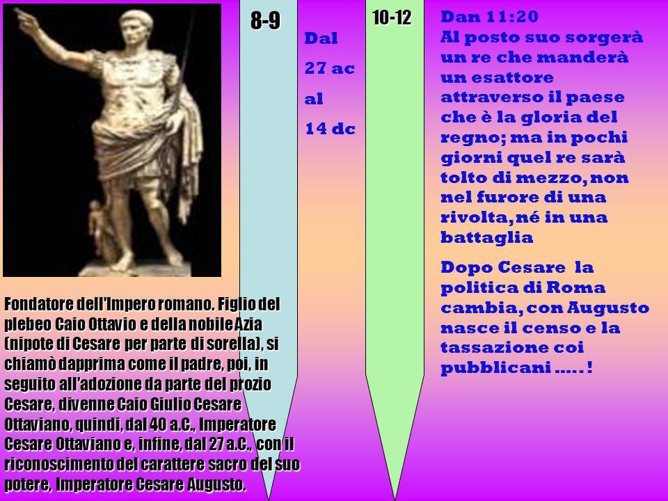 8-910-12 Dan 11:20 Al posto suo sorgerà un re che manderà un esattore attraverso il paese che è la gloria del regno; ma in pochi giorni quel re sarà t