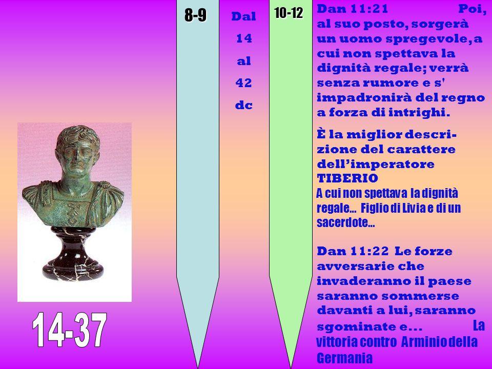 8-910-12 Dan 11:21 Poi, al suo posto, sorgerà un uomo spregevole, a cui non spettava la dignità regale; verrà senza rumore e s' impadronirà del regno