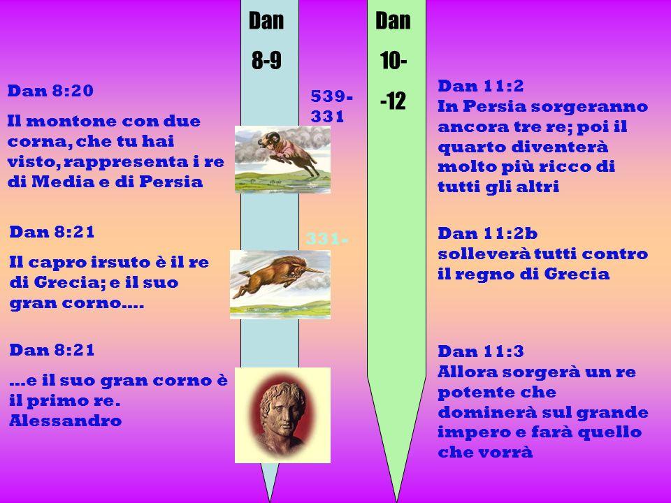 Dan 8-9 Dan 10- -12 Dan 8:20 Il montone con due corna, che tu hai visto, rappresenta i re di Media e di Persia Dan 11:2 In Persia sorgeranno ancora tr