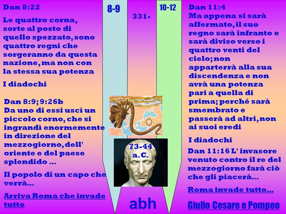 8-9 10-12 Dan 8:22 Le quattro corna, sorte al posto di quello spezzato, sono quattro regni che sorgeranno da questa nazione, ma non con la stessa sua