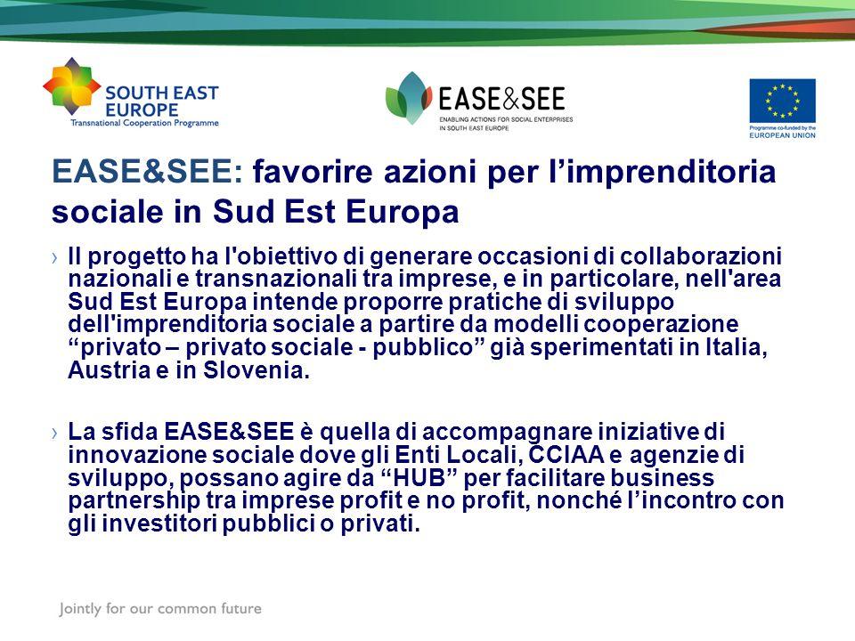 EASE&SEE: favorire azioni per limprenditoria sociale in Sud Est Europa Il progetto ha l'obiettivo di generare occasioni di collaborazioni nazionali e