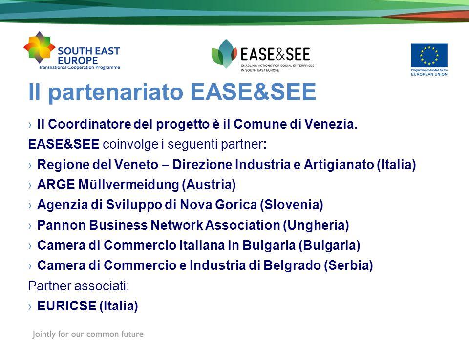 Il partenariato EASE&SEE Il Coordinatore del progetto è il Comune di Venezia. EASE&SEE coinvolge i seguenti partner: Regione del Veneto – Direzione In