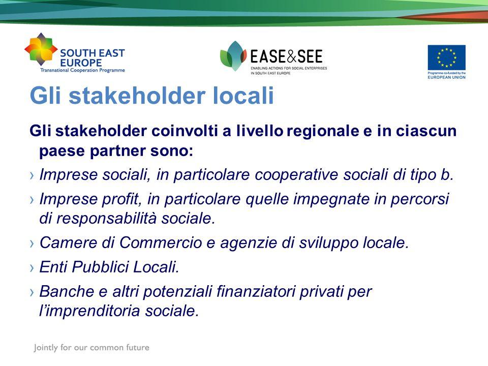 Gli stakeholder locali Gli stakeholder coinvolti a livello regionale e in ciascun paese partner sono: Imprese sociali, in particolare cooperative soci