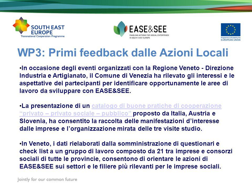 WP3: Primi feedback dalle Azioni Locali In occasione degli eventi organizzati con la Regione Veneto - Direzione Industria e Artigianato, il Comune di Venezia ha rilevato gli interessi e le aspettative dei partecipanti per identificare opportunamente le aree di lavoro da sviluppare con EASE&SEE.