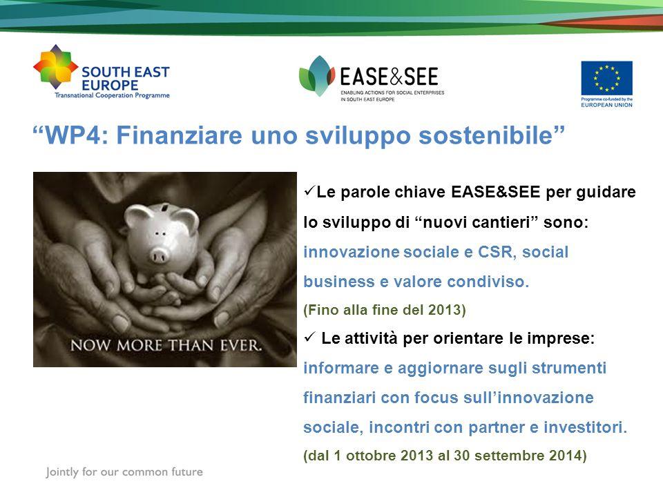 WP4: Finanziare uno sviluppo sostenibile Le parole chiave EASE&SEE per guidare lo sviluppo di nuovi cantieri sono: innovazione sociale e CSR, social b