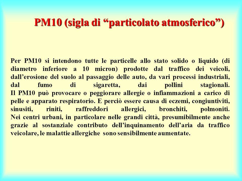 Per PM10 si intendono tutte le particelle allo stato solido o liquido (di diametro inferiore a 10 micron) prodotte dal traffico dei veicoli, dallerosi
