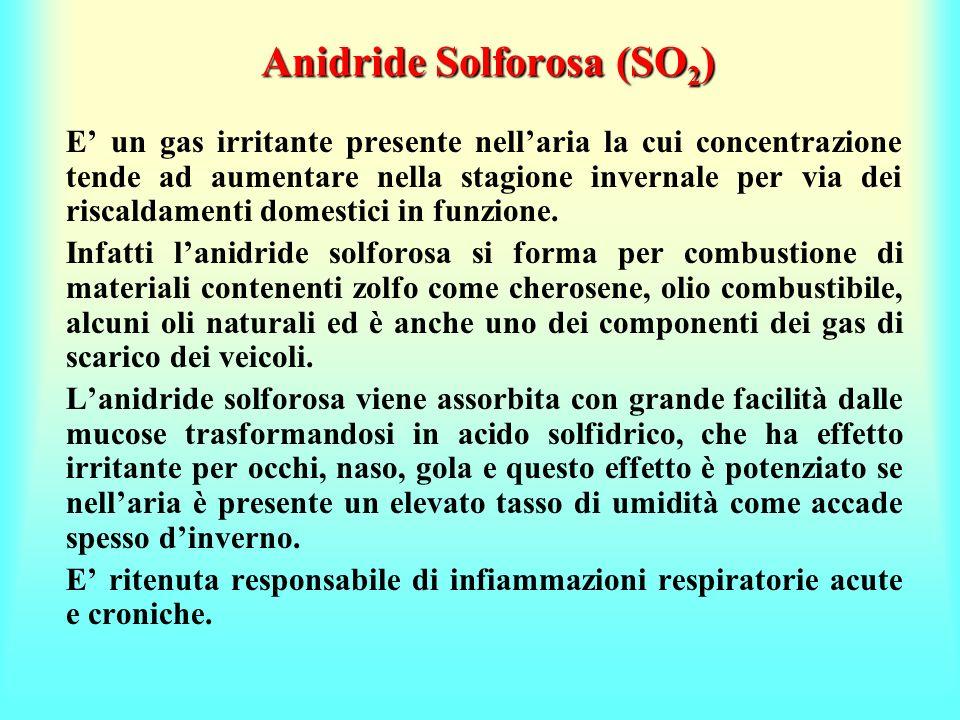 Anidride Solforosa (SO 2 ) E un gas irritante presente nellaria la cui concentrazione tende ad aumentare nella stagione invernale per via dei riscalda