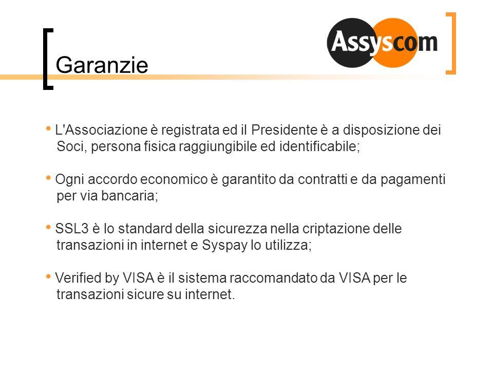 Garanzie L'Associazione è registrata ed il Presidente è a disposizione dei Soci, persona fisica raggiungibile ed identificabile; Ogni accordo economic
