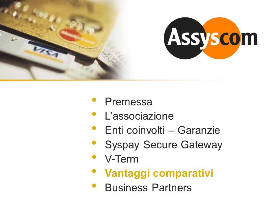 Premessa Lassociazione Enti coinvolti – Garanzie Syspay Secure Gateway V-Term Vantaggi comparativi Business Partners