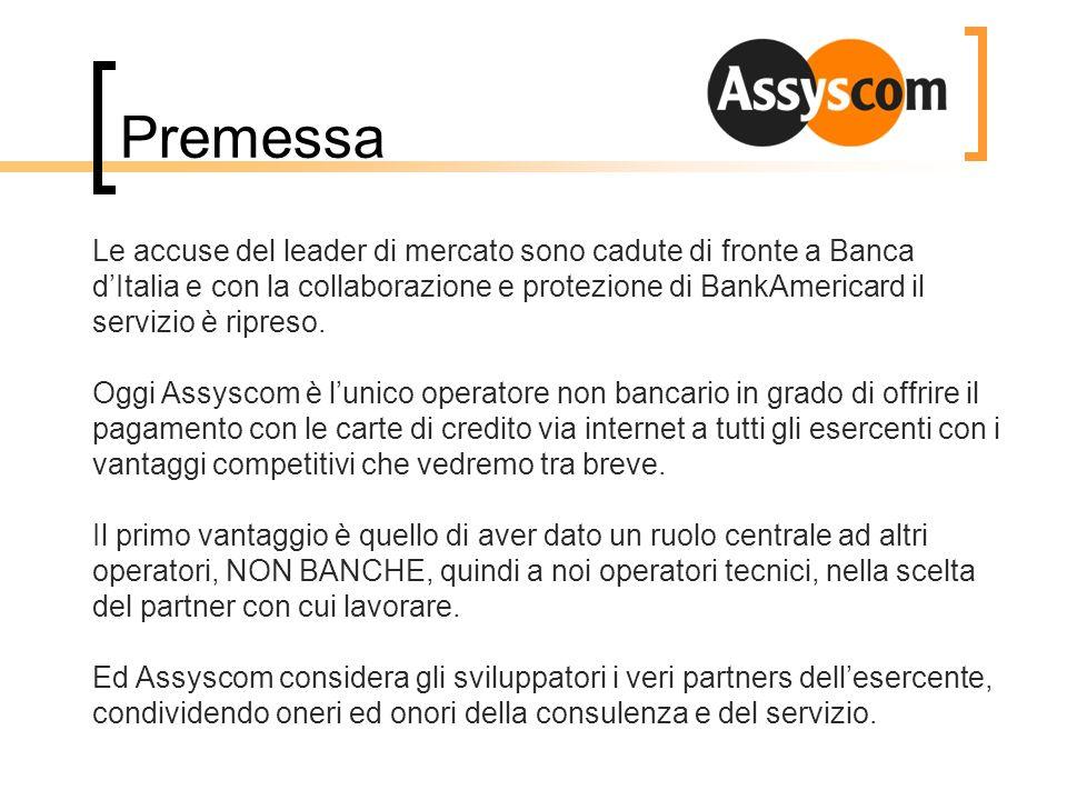 Premessa Le accuse del leader di mercato sono cadute di fronte a Banca dItalia e con la collaborazione e protezione di BankAmericard il servizio è rip