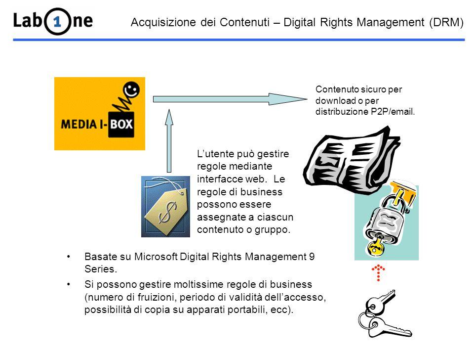 Acquisizione dei Contenuti – Digital Rights Management (DRM) Basate su Microsoft Digital Rights Management 9 Series.