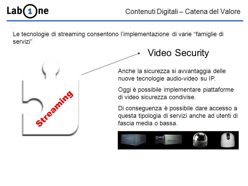 Contenuti Digitali – Catena del Valore Le tecnologie di streaming consentono limplementazione di varie famiglie di servizi Video Security Anche la sicurezza si avvantaggia delle nuove tecnologie audio-video su IP.