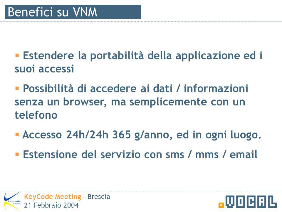 Benefici su VNM KeyCode Meeting - Brescia 21 Febbraio 2004 Estendere la portabilità della applicazione ed i suoi accessi Possibilità di accedere ai dati / informazioni senza un browser, ma semplicemente con un telefono Accesso 24h/24h 365 g/anno, ed in ogni luogo.