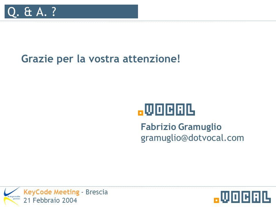 Q. & A. ? Grazie per la vostra attenzione! Fabrizio Gramuglio gramuglio@dotvocal.com KeyCode Meeting - Brescia 21 Febbraio 2004