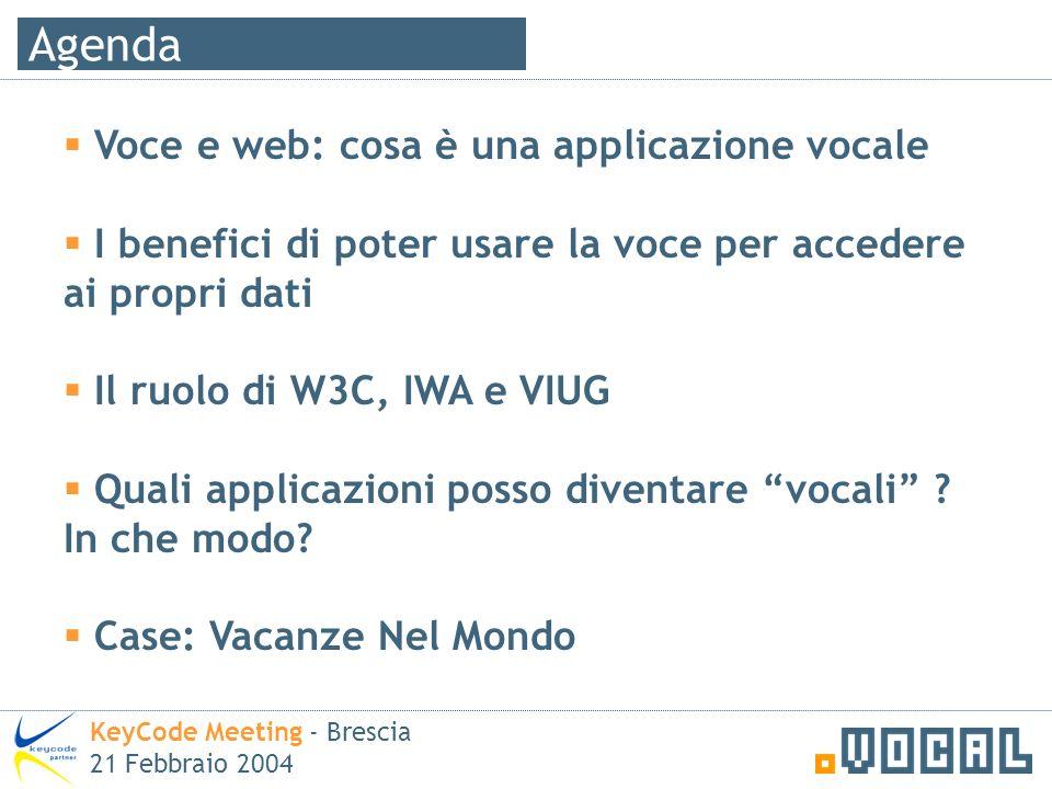 Agenda KeyCode Meeting - Brescia 21 Febbraio 2004 Voce e web: cosa è una applicazione vocale I benefici di poter usare la voce per accedere ai propri